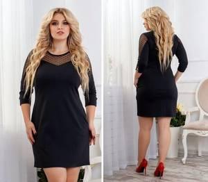 Платье короткое нарядное черное Ф6490