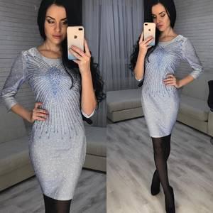 Платье короткое вечернее с рукавом 3/4 Ф7071