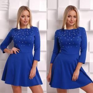Платье короткое с рукавом 3/4 синее Ф8554