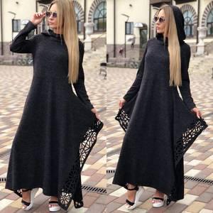 Платье длинное черное повседневное Ф0363