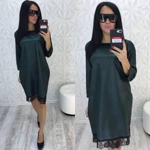 Платье короткое нарядное зеленое У9354