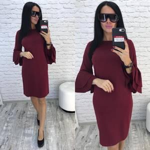 Платье короткое нарядное красное Ф0730
