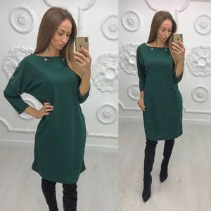 Платье короткое зеленое однотонное Ф1382