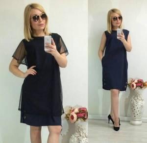 Платье Двойка короткое однотонное Ф1479