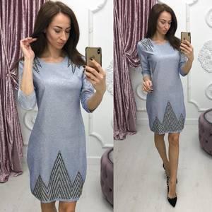 Платье короткое вечернее с рукавом 3/4 Ф7080