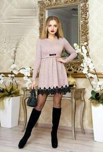 Платье короткое нарядное с длинным рукавом Ф9873