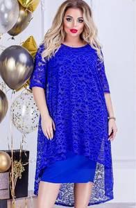 Платье короткое нарядное с кружевом Ф9916