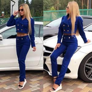 Костюм брючный модный синий Ф0367