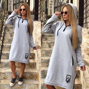 Платье короткое с длинным рукавом повседневное Ф0371