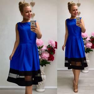 Платье короткое коктейльное синее У8985