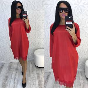 Платье короткое нарядное красное У9355