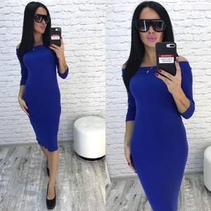 Платье короткое облегающее синее У9640
