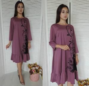 Платье короткое нарядное с принтом Ф1407