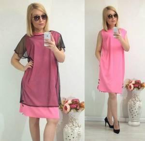 Платье Двойка короткое однотонное Ф1480