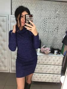 Платье короткое с длинным рукавом синее Ф6018