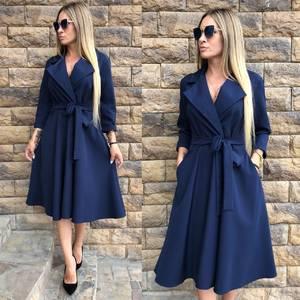 Платье короткое с рукавом 3/4 синее Ф8041