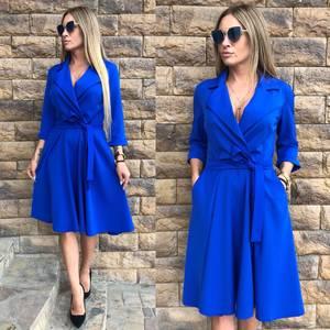 Платье короткое с рукавом 3/4 синее Ф8040