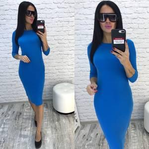 Платье короткое облегающее синее У9641