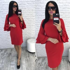 Платье короткое нарядное красное Ф0732