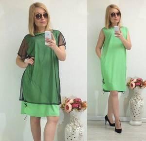 Платье Двойка короткое однотонное Ф1481