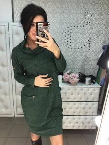 Платье короткое с длинным рукавом зеленое Ф6021