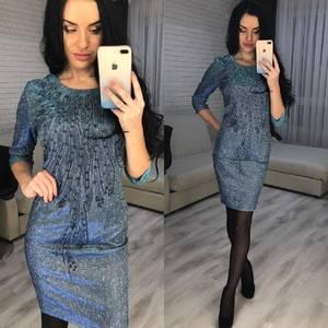 Платье короткое вечернее с рукавом 3/4 Ф7073