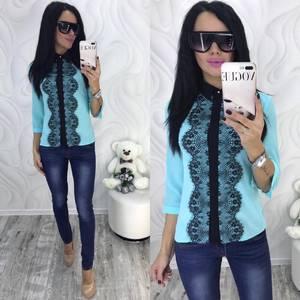 Блуза с кружевом голубая Ф7365