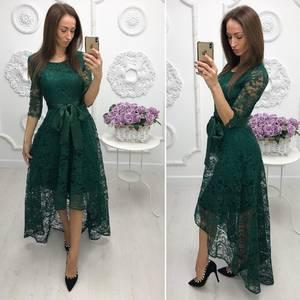 Платье длинное зеленое нарядное Ф7974