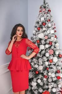 Платье короткое вечернее красное Ф8072