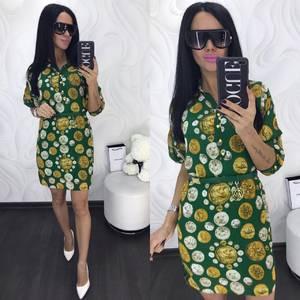 Платье короткое нарядное с принтом Х8008