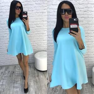 Платье короткое с рукавом 3/4 однотонное Ф0733
