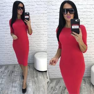 Платье короткое облегающее красное У9642