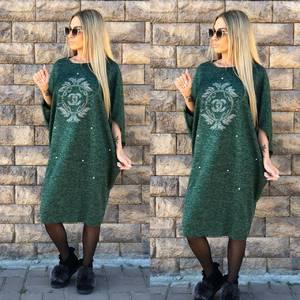 Платье короткое трикотажное однотонное Ф1757