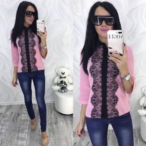 Блуза с кружевом розовая Ф7364