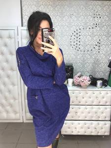 Платье короткое с длинным рукавом синее Ф6022