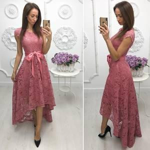 Платье длинное розовое нарядное Ф7972