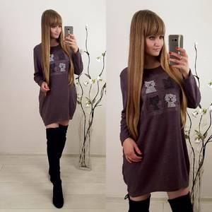 Платье короткое с длинным рукавом современное Ф0390