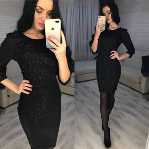 Платье короткое вечернее с рукавом 3/4 Ф7076