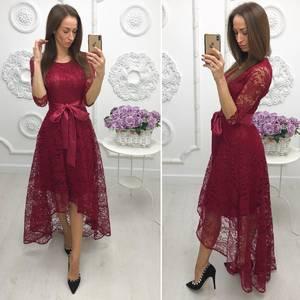 Платье длинное красное нарядное Ф7975