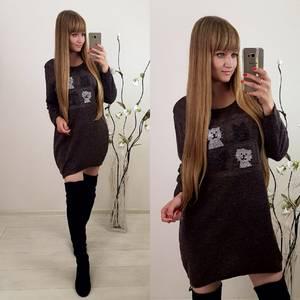 Платье короткое с длинным рукавом современное Ф0391