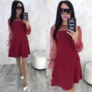 Платье короткое нарядное с длинным рукавом Ф9884
