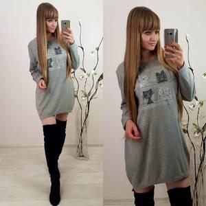 Платье короткое с длинным рукавом современное Ф0392