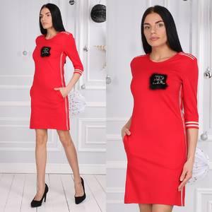 Платье короткое с рукавом 3/4 красное Х0956