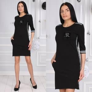 Платье короткое с рукавом 3/4 черное Х0957