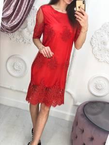 Платье короткое нарядное красное Х3547