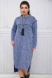 Платье длинное с длинным рукавом синее Ф2408
