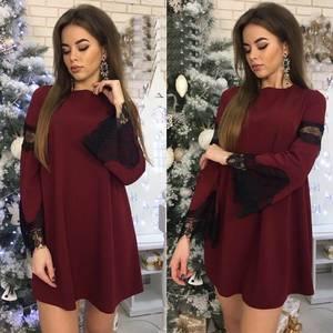 Платье короткое нарядное с длинным рукавом Ф9887
