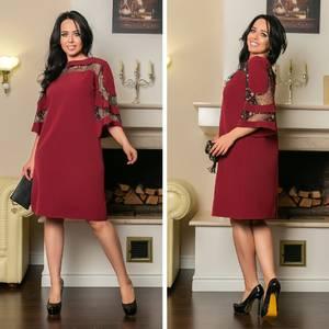 Платье короткое нарядное красное Х2059