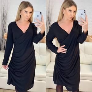 Платье короткое нарядное черное Х2107