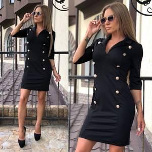 Платье короткое классическое черное У7412